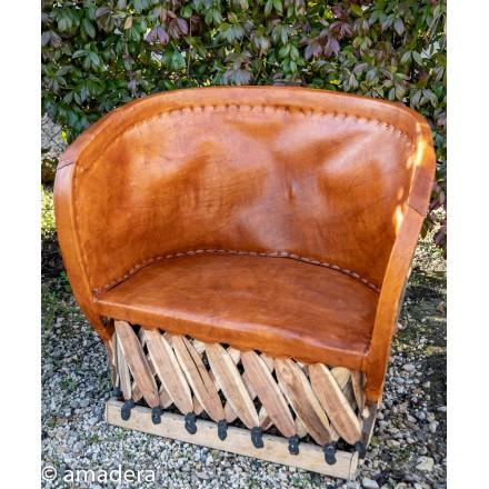 Fauteuil lounge cuir et bois