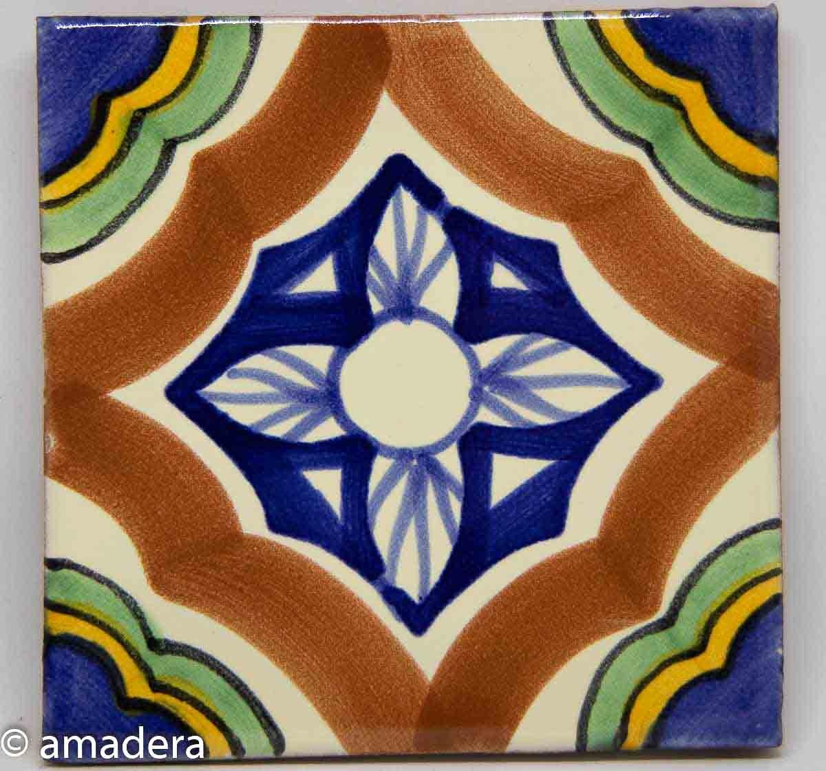 Carrelage en c/éramique mexicaine Tuile unique 10,5 cm fait /à la main et /éthiquement n/égoci/é par Tumia LAC
