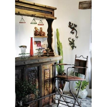 Meuble bar. mobilier ethnique pin ancien et fer forgé