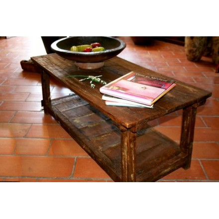 Table basse de salon en pin ancien