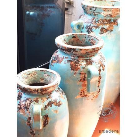 grandes jarres turquoises en terre cuite poteries d co. Black Bedroom Furniture Sets. Home Design Ideas