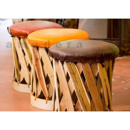 tabouret de jardin en bois et cuir mobilier traditionnel mexicain. Black Bedroom Furniture Sets. Home Design Ideas