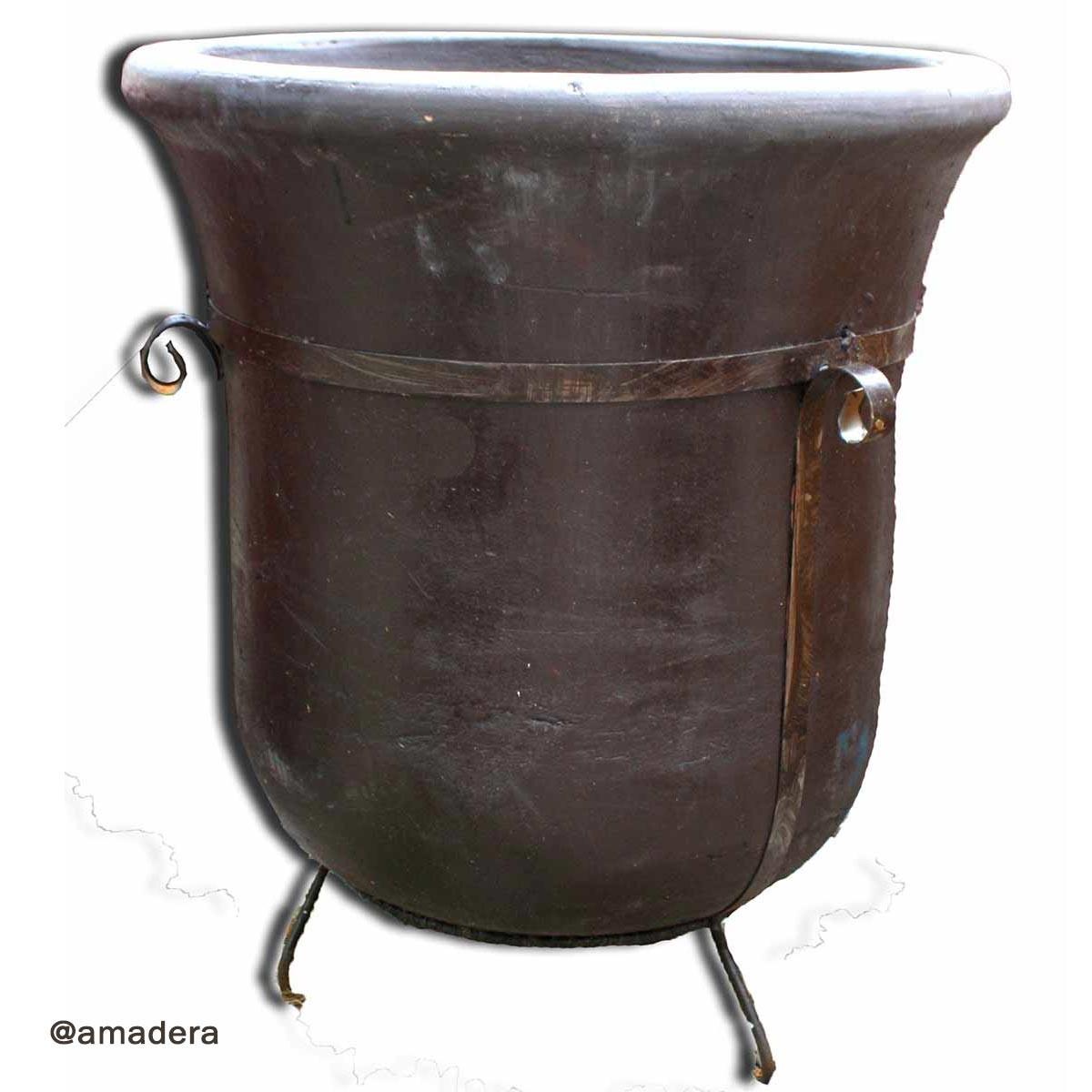 Poterie en terre cuite et fer forgé grand cache pot de jardin