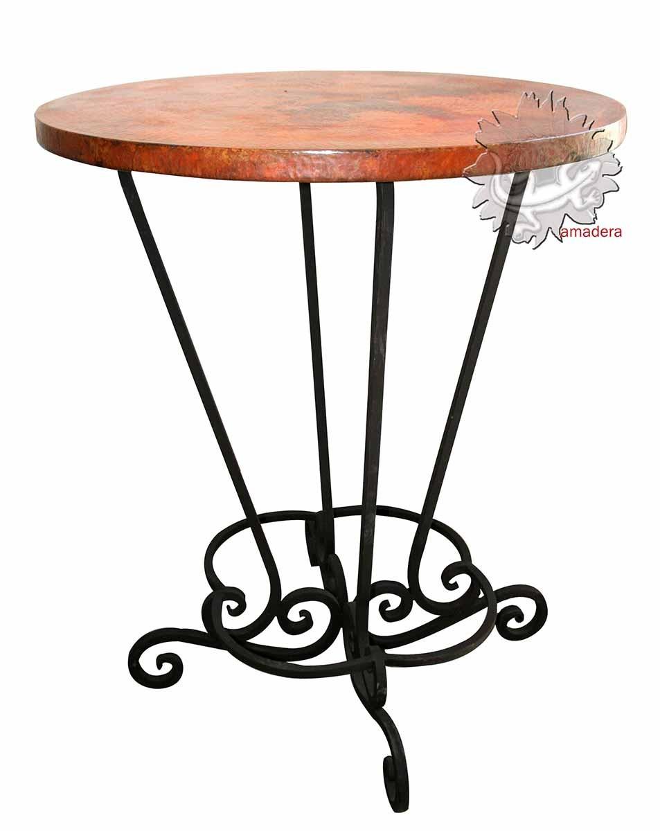 Table haute en cuivre et fer forg mange debout moderne et for Meuble bar mange debout