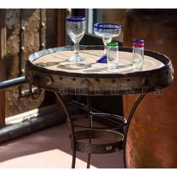 Table bistrot bois et fer forgé