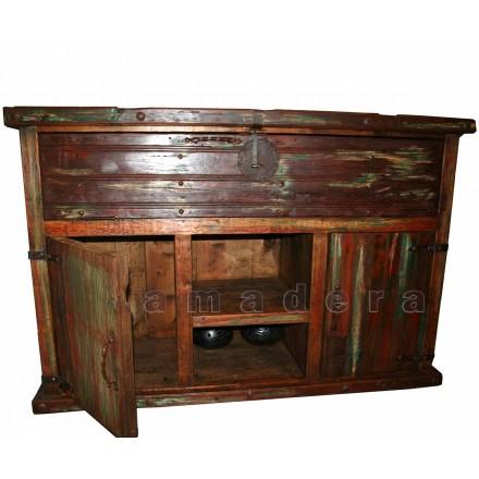 Meuble bar en pin ancien