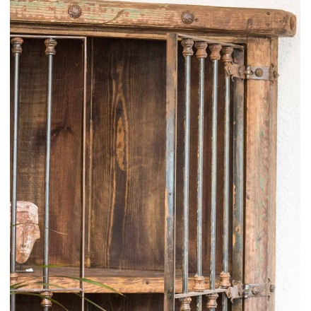 Meuble d'angle étagère pin et fer forgé