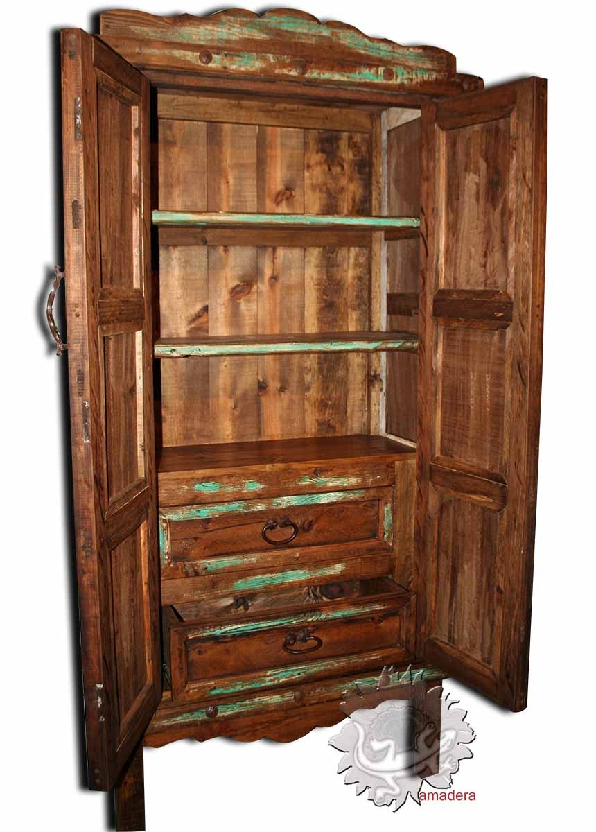 Mobilier mexicain armoire en pin authentique meuble de for Meuble en pin