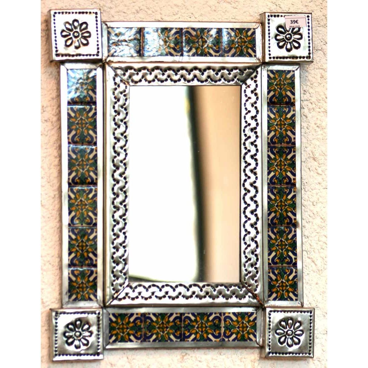 Petit miroir d coration murale miroir mexicain d cor avec azulejos - Miroir decoration murale ...
