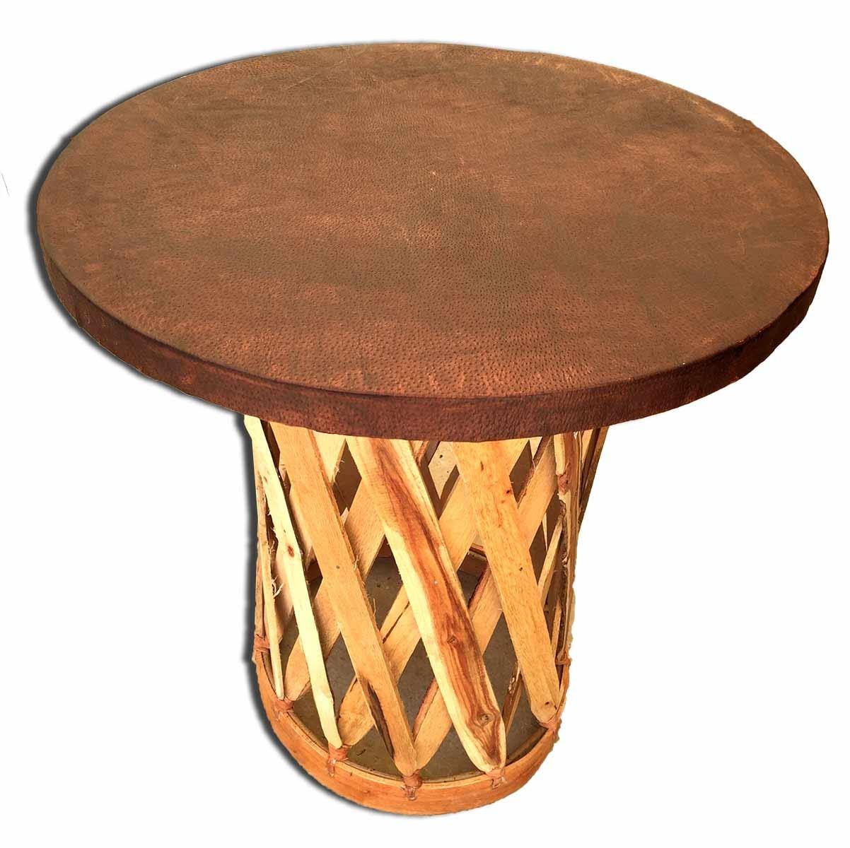 Table Ronde Terrasse table equipal mobilier de terrasse en bois et cuir meuble mexicain