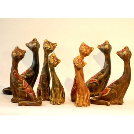 Chats statues terre cuite