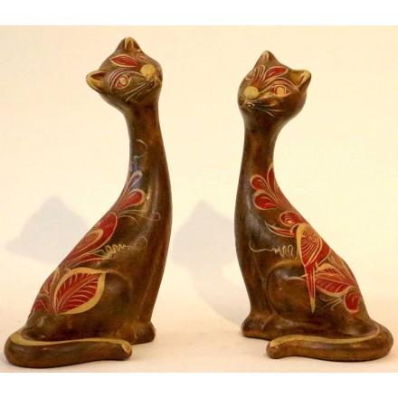 Statue chat en terre cuite