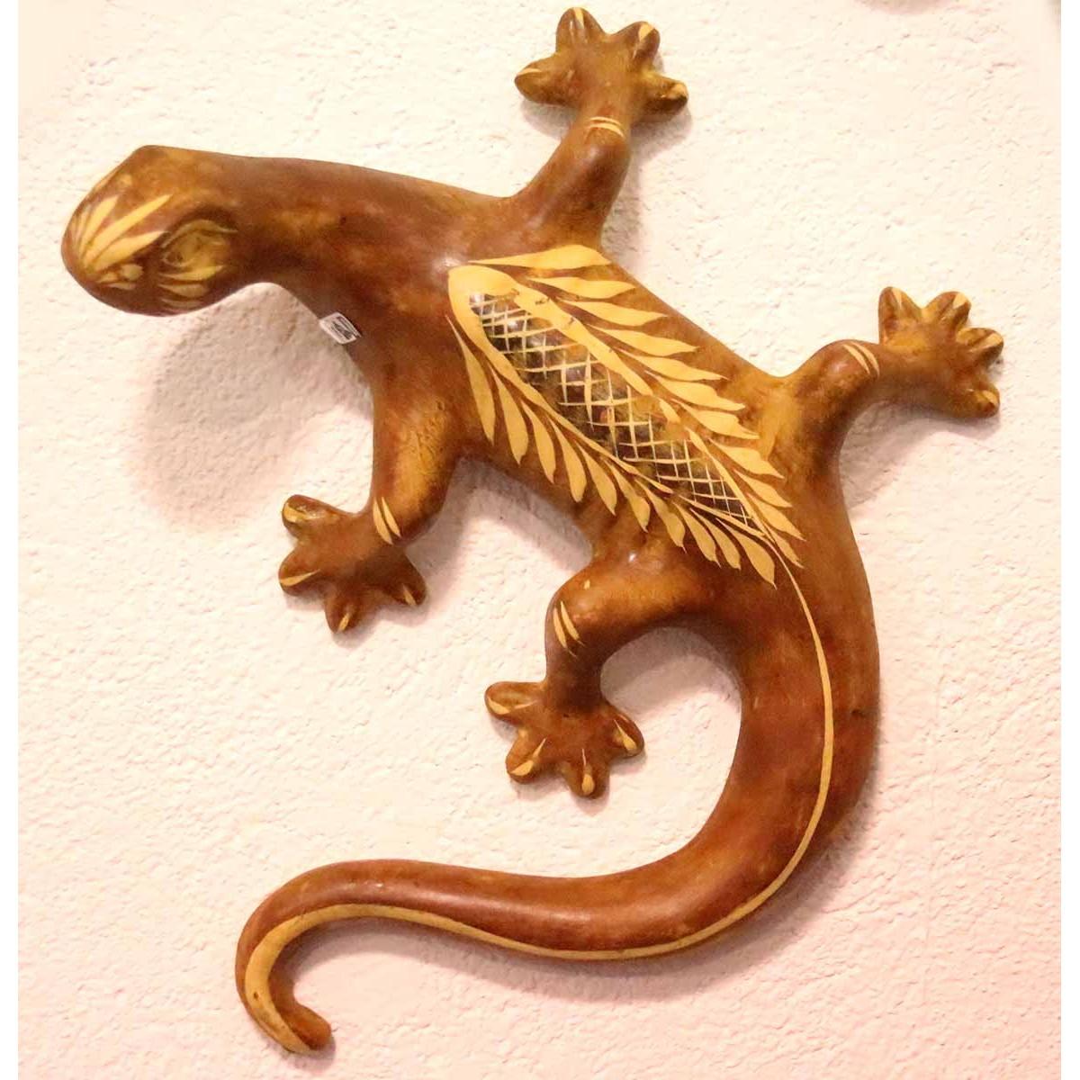 Salamandre en terre cuite déco murale